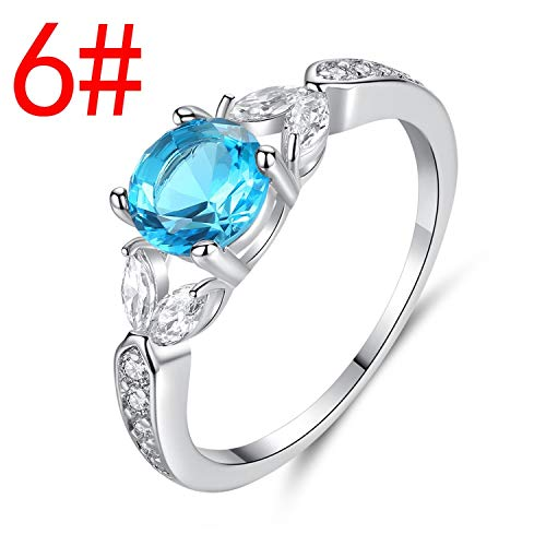 Cool-House-UK Jewelry Explosive Zubehör Vierbacken Sea Blue Zircon Ring Schmuck Blumen-Shaped-Paar-Ring