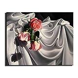 WYKUN Frameless Ölgemälde, Reine handgemalte einfache Wandbilder für Wohnzimmer Modern, rosa Rose Einzelne dekorative Gemälde für Esszimmer,A_14in*20in