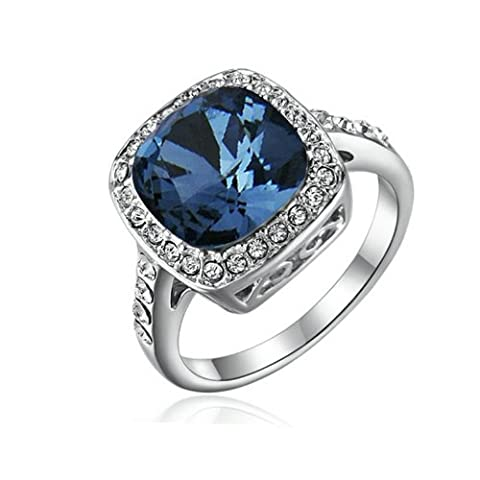 Yoursfs Crystal Blue Sapphire Rings for Lady