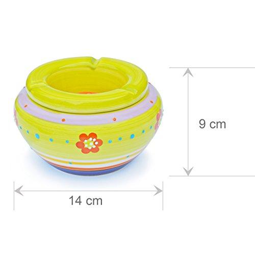 Schöne Aschenbecher aus Keramik – 4 Stück – Grundfarbe gelb mit Blumenmuster neu - 2