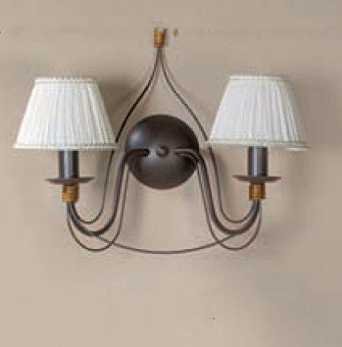 Onli–Applique Wandleuchte Flamme mit 2Lampenschirmen Elfenbein plissettati mit goldener Bordüre klassisch Traditionell Vintage Rahmen...