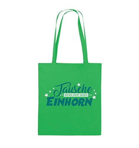 Comedy Bags - Tausche dieses Shirt gegen Einhorn - Jutebeutel - lange Henkel - 38x42cm - Farbe: Schwarz / Weiss-Neongrün Grün / Türkis-Weiss