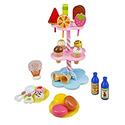 Role play toy package included: 6 * ice cream flavors with 6 cones 5 * popsicles 3 * macaroons 2 * spoons 2 * plates 2 * bottles 1 * menu  and a 3 level tower to set all desserts Great game for children play together in the party , garden or ...