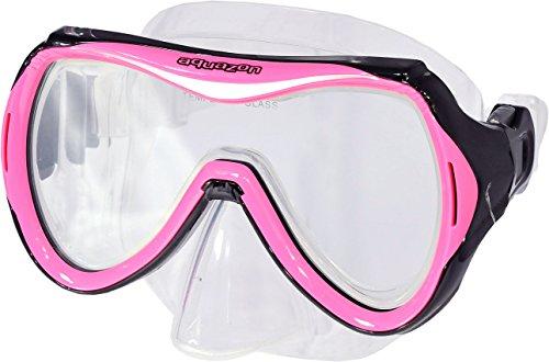 AQUAZON Maui Junior Medium Schnorchelbrille, Taucherbrille, Schwimmbrille, Tauchmaske für Kinder, Jugendliche von 7-14 Jahren, Tempered Glas, sehr robust, tolle Paßform, Colour:pink