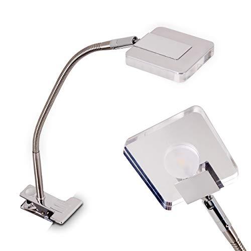 LED Klemmleuchte Paide, flexibel verstellbare Tischlampe aus Metall in Nickel-matt/Chrom,