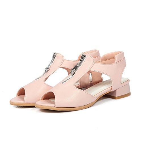 Zipper Sapatos Rosa De De Sandálias Peixe Material De Salto Senhoras Pura Allhqfashion Cabeça Menor Cor Macio qvxt6