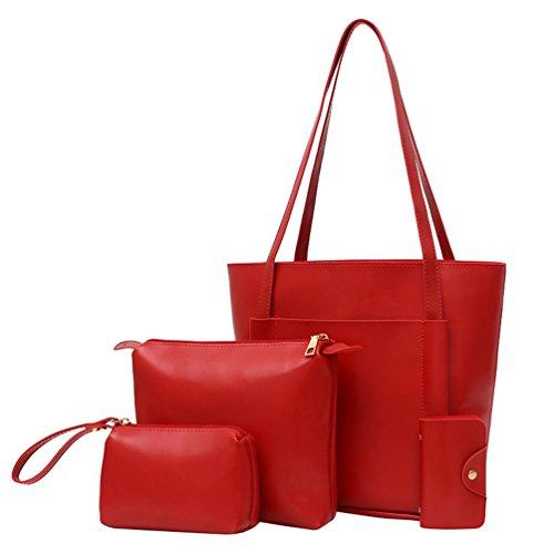 Anguang Damen Schultertasche Handtaschen Messenger Bags Karte Paket Sets Tasche Handtaschen Rot 2