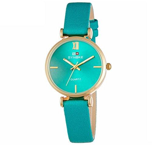 Leder Armband Damen Quarzuhr Einfache Mode , green - Dual Damen Face Uhr