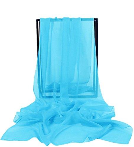 Dresstells, Femme pashmina châle écharpe étole en mousseline polyester printemps/été Bleu