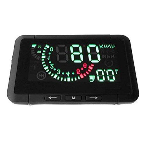 SODIAL(R)Coche HUD Montados en Vehiculos Levantar la Cabeza Pantalla Sistema OBD Exceso de velocidad Advertencia Consumo de