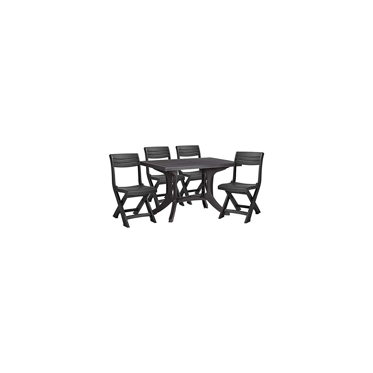 Garden & Outdoors Allibert Funky 5 Pc Folding Table & Chair Set Garden Furniture Set Bistro Table & Chair Black