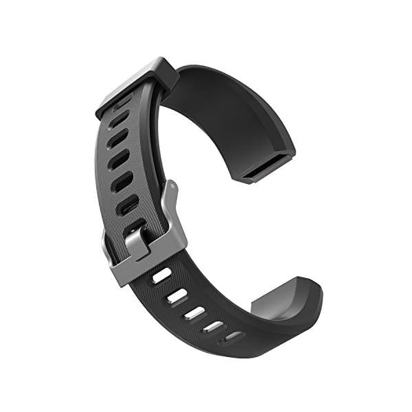 Aitoo® ID115 Plus Correas de Repuesto de TPU para Reloj de Pulsera de Fitness ID115 Plus HR, 5 Colores, Negro/Azul/Morado/Verde/Rosa 7