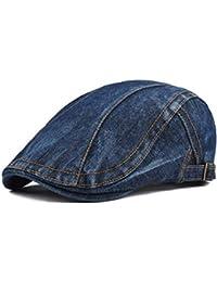 BoBoLily Denim Jeans para Hombre Vendedor De Periódicos Boina Cabbie Pato  Hebilla De Cap Especial Estilo bc9dc8c3163
