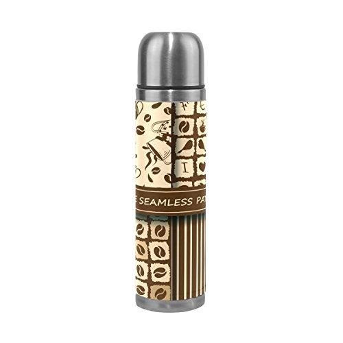 Ahomy - Botella térmica de Acero Inoxidable con diseño Vintage de Lunares de café y vacío (500 ML)