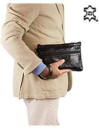 6fef507a70 Pochette uomo da polso morbida patchwork Piccola borsa a mano nera Borsello  Borsetta casual moto x chiavi portafoglio sportiva viaggio…
