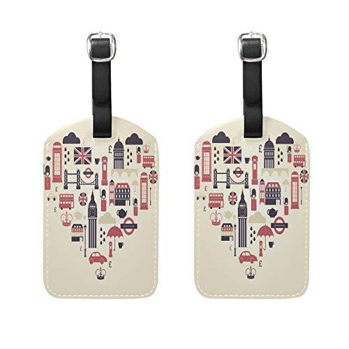t Love Heart Gepäckanhänger, Reiseetiketten, Kofferanhänger mit Namen, Adresskarten, 2 Stück ()