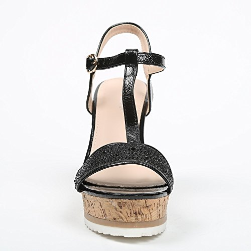 Ideal Shoes – Sandali compensate con flangia in T Effetto glitter e strassé Tatania Nero