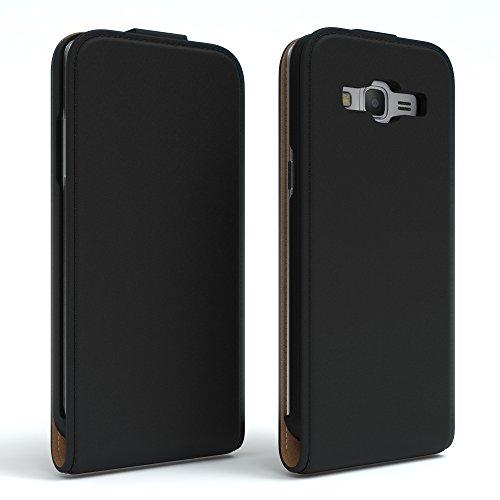 Samsung Galaxy Grand Prime Hülle - EAZY CASE Premium Flip Case Handyhülle - Schutzhülle aus Leder zum Aufklappen in Anthrazit Schwarz