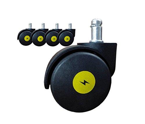5,1cm antistatisch Bürostuhl Lenkrollen Sicherheit für Hartholz Boden Standard Stiel Größe 11mm22mm (7/40,6cm 7/20,3cm)-Schwarz (Set von 5)