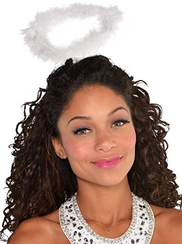 Ladies Girls Teens White Fluffy Angel Halo Hairband Headband Christmas Nativity Xmas Festive Fancy Dress Costume Outfit - Teen Halo Kostüm