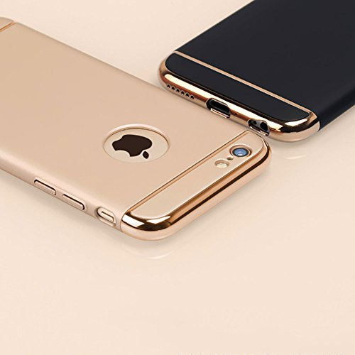 Custodia per Apple iPhone SE/ 5S/ 5 Cover,Herzzer Mode Creativo Elegante Hard PC 3-in-1 Placcatura Opaco plating Oro rosa Bumper caso,protettiva in plastica duro della copertura ha placcato il Cassa S Oro