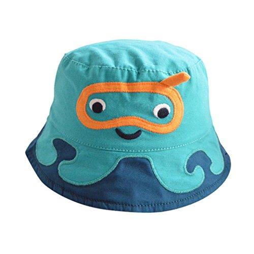Tangda Kinder Hut Jungen Baumwolle Sonnenhut Kids Mütze Sommer Kappe UV Schutz Kindermütze 53cm - Blau (Kinder Hüte Für Den Sommer)