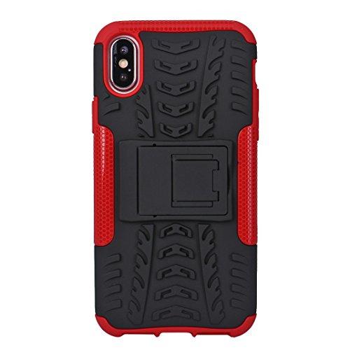 iPhone X Hard Hülle, Asnlove 2 in 1 Hart PC und TPU Skin Outdoor Dual Layer Armor Case Handy Schutzhülle Shockproof Robuste Hülle 360 Grad Kompletter Schutz Backcover Mit Stentfunktion für Apple iPhon Rot