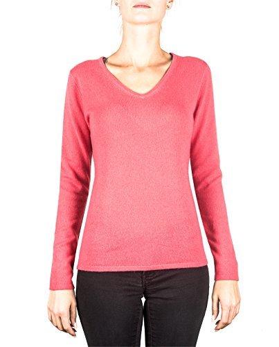 Pullover | Sweater | Maglione con Scollo a V da Donna 100% Cachemire (XS-XXL) Virtuale Rosa