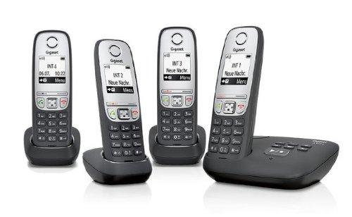Gigaset A415A / A415 A / A 415A Quattro schwarz MIT Anrufbeantworter inkl. 4 Mobilteilen