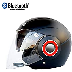 TKTTBD Casques Moto Jet Bluetooth, Casque Open Face AVCE Double Visière Anti-buée pour Adulte, Casques Motocross, Microphone à Réduction De Bruit réponse Automatique
