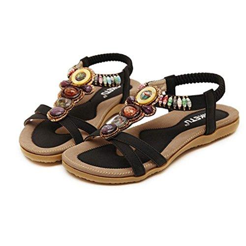 Ete 2016 Sandales Femmes Plates Pas Chere Sandales Doux Fashion PerléE Clip Toe Flats Femmes Sandales Herringbone BohêMe