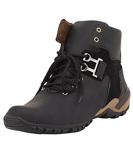 T-Rock Vision Casual Shoes For Men/ Black Synthetic Leather High Ankle Boots/All Sizes  available at amazon for Rs.399