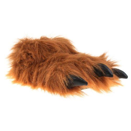 Tier Hausschuhe Pantoffel Puschen Schlappen Kuscheltier Plüsch Damen Herren 36-47, TH-MK, Farbe braun, Größe 44/45 (Monster Schuhe)