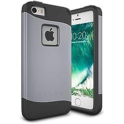 Snugg Coque iPhone Se, Apple iPhone Se Double Couche Case Housse Silicone [Bouclier Légère] Etui de Protection - Gris, Infinity Series
