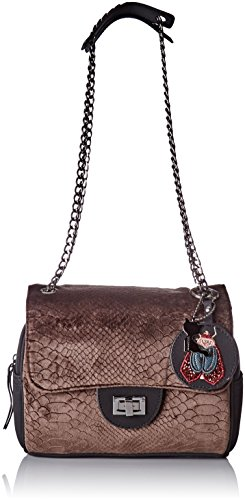 Lollipops - Alix Velvet Chain Side, Borse a spalla Donna Marrone (Brown)