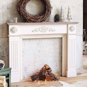 cornice camino in legno beige bianco antico. Black Bedroom Furniture Sets. Home Design Ideas