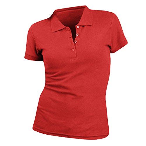 SOLS People - Polo 100% coton à manches courtes - Femme Rouge