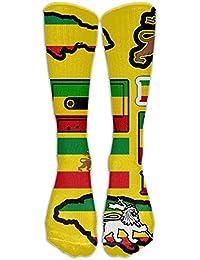 zengjiansm Calcetines Altos Old Flag of Ethiopia Lion of Judah Rastafarian Reggae Crown Long High Running Sock Stocking Comfortable