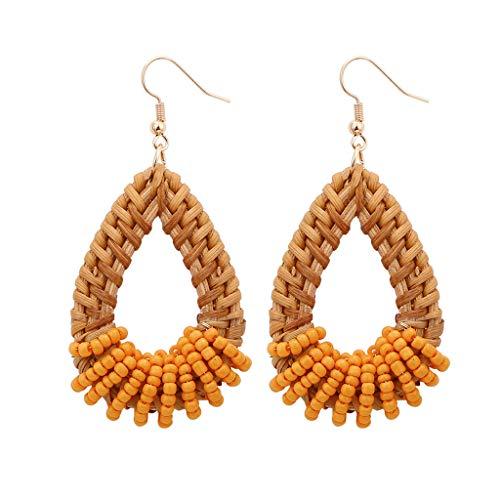 en-Tropfen-Ohrring Lange Böhmischen Stil Handgemachte Ohrringe Wind Retro Strass Ohrstecker Baumeln Ohrringe für Damen Mädchen ()