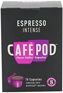 CafePod Nespresso Compatible Intense 10 Capsules (Pack of 8, Total 80 Pods)