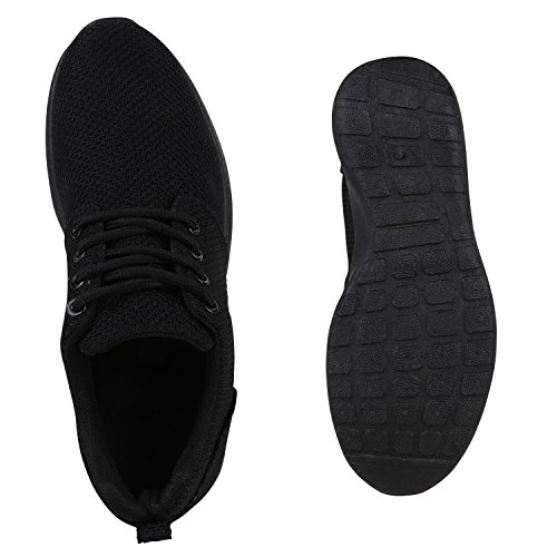 Damen Herren Sneaker Sportschuhe schwarz Turnschuhe Runners mit Blumen Print in mehreren Farben Total Schwarz