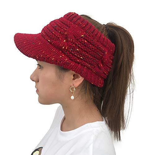 Yvelands Damen Twist Schirmmütze Wollmütze aushöhlen Multicolor Point Caps(Rot,One Size)