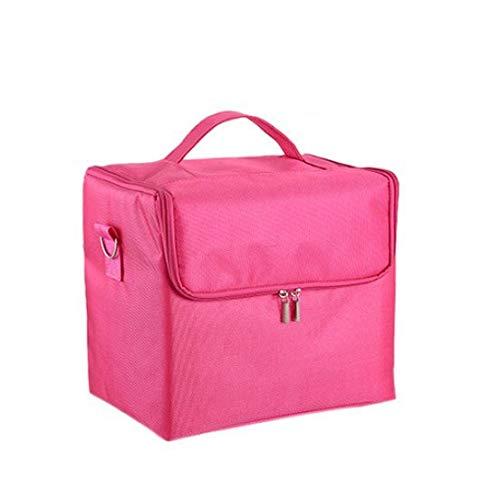 Make-up-Box, große Kapazität Multifunktions-Kosmetik-Etui, tragbare Reise Kosmetiktasche Aufbewahrungstasche, Beauty Make-up Nagel Schmuck Aufbewahrungsbox (Color : Pink)