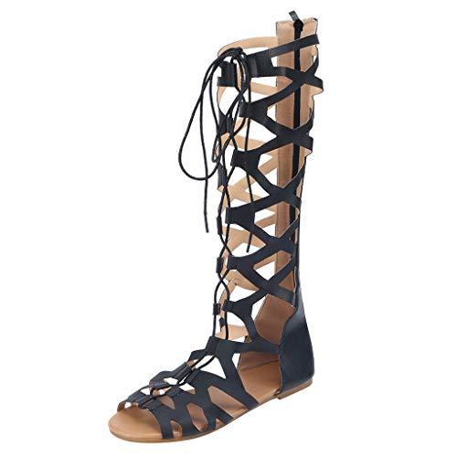 Scarpe da Donna con Cinturino alla Caviglia con Cinturino alla Schiava in Sandali con Lacci in Bende, Bohemian Scarpe Sandali (36, Nero 1)