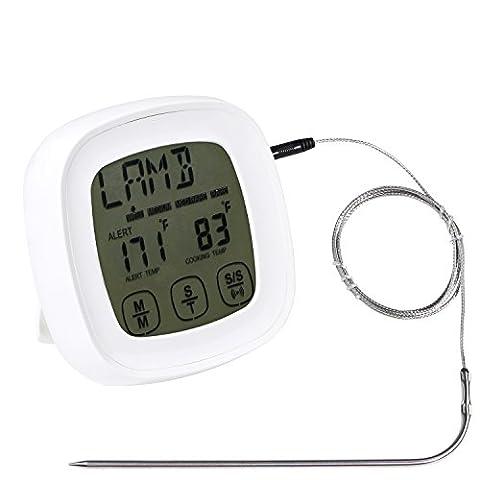 Thermomètre à viande four écran tactile Digital lecture instantanée Thermomètre de cuisson à Sonde avec minuterie Fonction d'alerte pour la nourriture barbecue/BBQ Candy Fumoir et de cuisine Grille de cuisson à steak