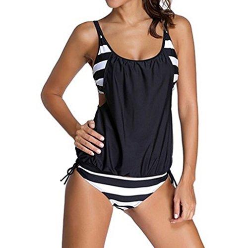 Eagsouni® Damen Bikini Set Streifen zweiteilig Schwimmanzug Tankini Bademode Strand Badeanzug Oberteile + Höschen Set Schwarz-Weiß Streifen