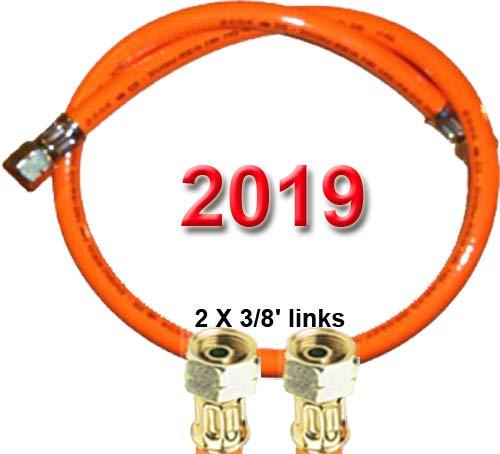 """TGO Propan-Gasschlauch 2 X 3/8\"""" Links (für Gewinden-Außenmaßen mit ca. 15-16mm) - Standard (PVC) mit Aufdruck 2019 (500 cm (5 m))"""