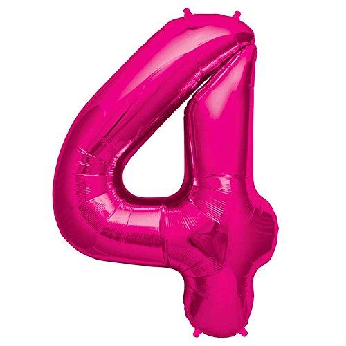NorthStar Balloons-Ballon Aluminium Chiffre 4 Magenta De 86Cm Non Gonflé