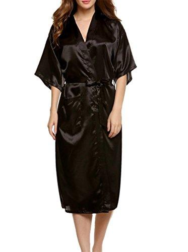 ACVIP Femme Peignoir Kimono de Bain Homme Robe de Nuit Chambre en Soie D'imitation Noir