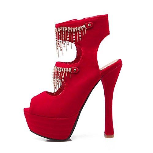 Adee Mesdames à franges High-Heels givré Sandales Rouge - rouge